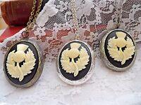 Necklace Scottish Thistle Flower Edwardian Locket Gold Silver Celtic Kilt Plaid