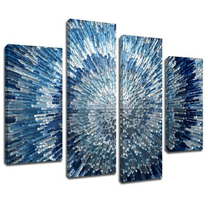 Image Is Loading Mab283 Blue Silver Swirl Design Canvas Wall Art
