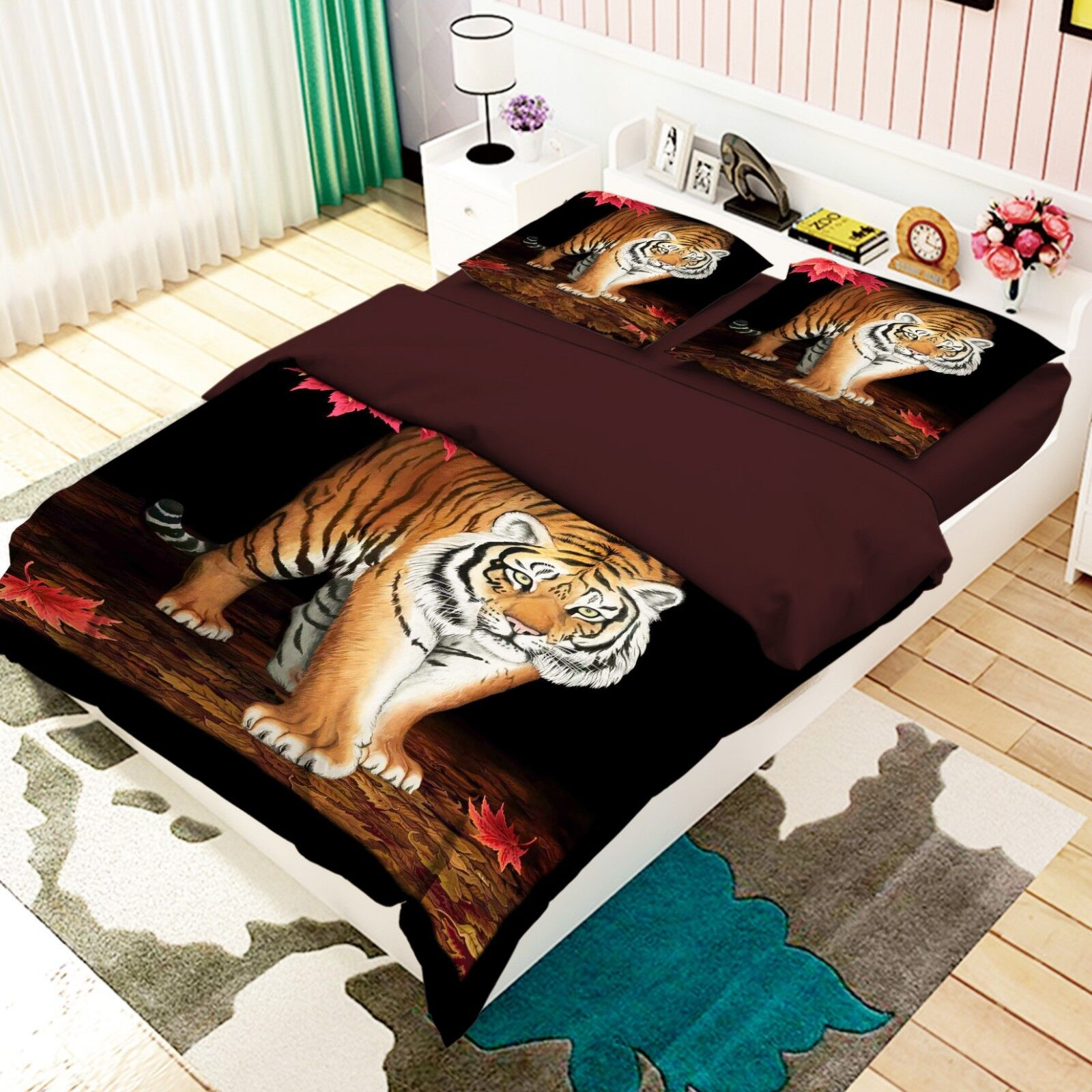 3D Painted Tiger 648 Bed Pillowcases Quilt Duvet Cover Set Single King UK Summer