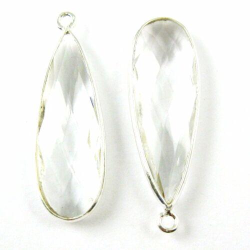 Bezel Gemstone Sterling Silver Birthstone Elongated Teardrop Charm 2 Pcs