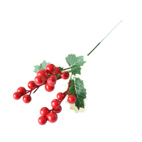 Artificial Vermelho Holly Berry Decoração De Natal Em Fio Bundle Guirlanda Coroa De Flores