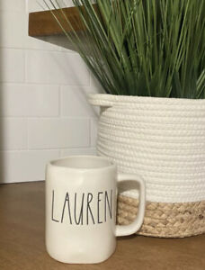 Rae Dunn Name Collection By Magenta LAUREN Farmhouse Large Letter Mug New