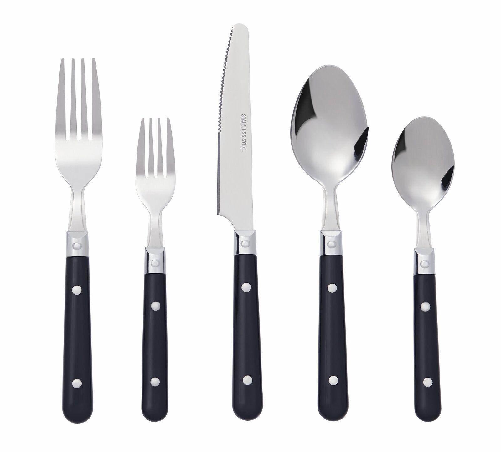 20Pcs Argenterie Set coutellerie de cuisine en acier inoxydable Service pour 4 Manche Noir