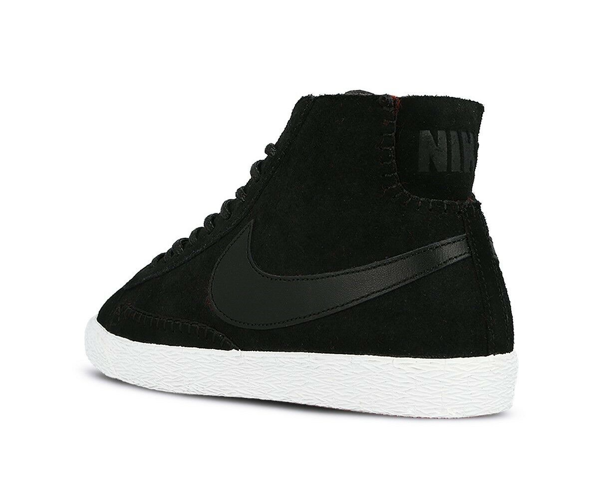 Mujer Nike Blazer Perfil Medio Premium Entrenadores Negro Negro Entrenadores 403729 007 e0ac9c