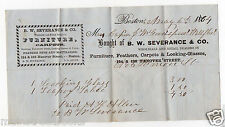 WELLFLEET MA, BOSTON MA 1864 Billhead Dealer in FEATHER BEDS LOOKING GLASSES