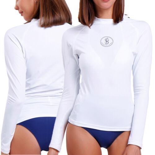 Womens Long Sleeve Rash Guard Swim Shirt SPF40 Surfing Swimsuit Swimwear V118