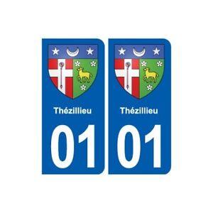 01 Thézillieu Blason Ville Autocollant Plaque Sticker