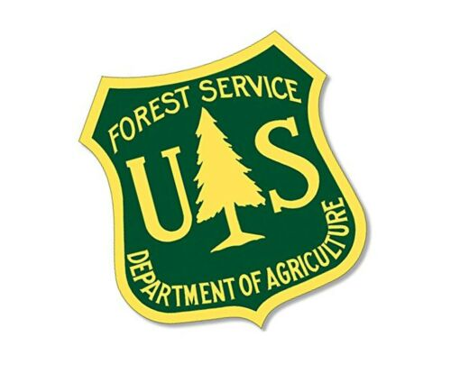 American Vinyl Green /& Yellow US Forestry Shield Shaped Sticker Logo Forest ...