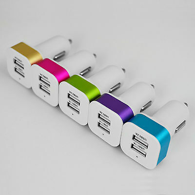 USB DOUBLE CAR CHARGER - DUAL CHARGING PORT - TWIN IPHONE SAMSUNG SATNAV TOMTOM