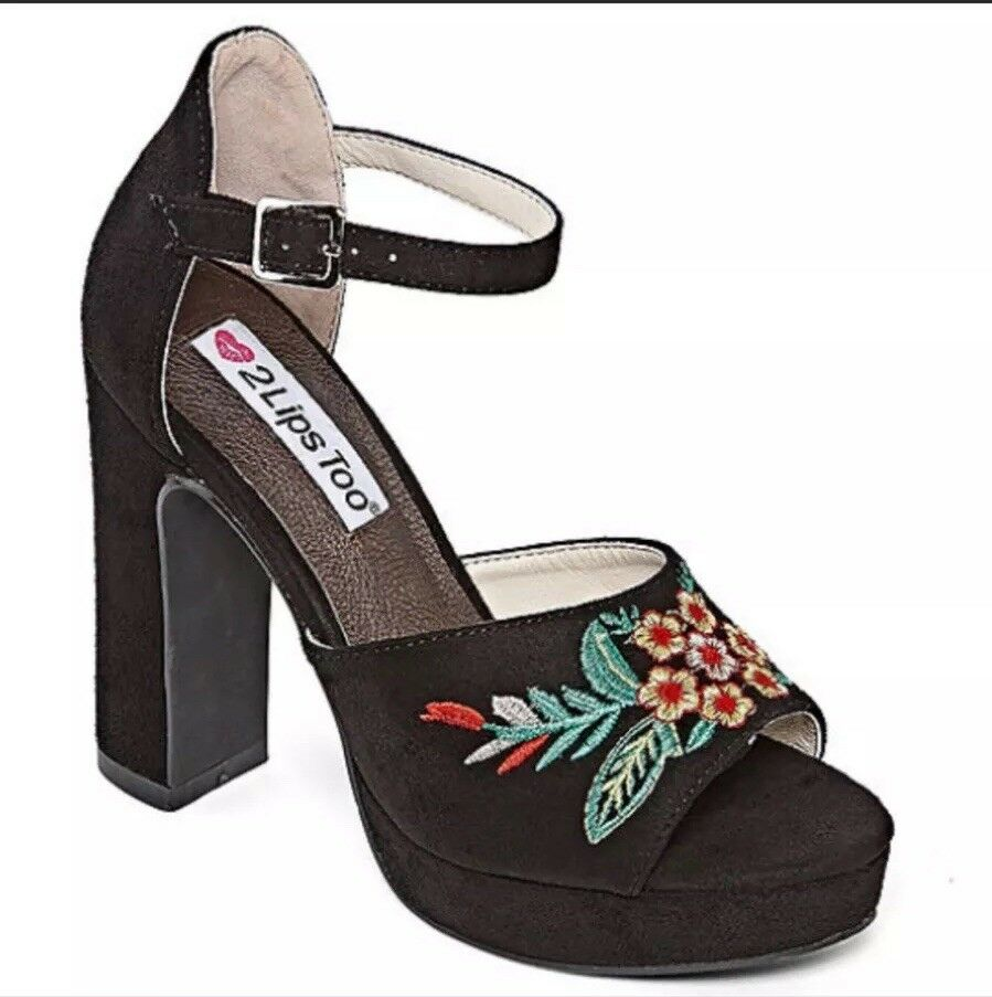 Size 8.5 Women 2 Lips Too Black ankle ankle ankle strap Embroidered pumps Open Toe f9dbc4