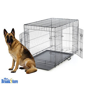 Large dog crate xl kennel extra huge folding pet wire cage for Giant breed dog kennel