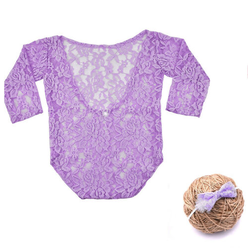2pcs Nouveau-né Baby Girl dentelle Ange Backless Body Photographie Costume Outfits