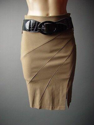 Brown Sculptural Pleat Work Career Business Office Belted Pencil xt10 Skirt S M