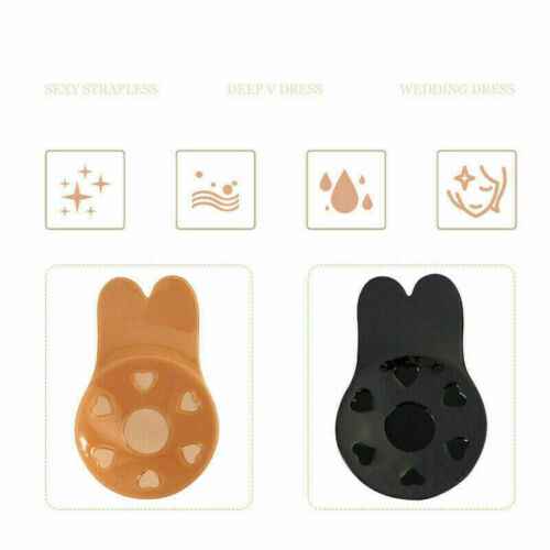 4Pcs Womens Invisible Bra Tape Strapless Push-Up Bra Lifting Rabbit Lift Up Bras