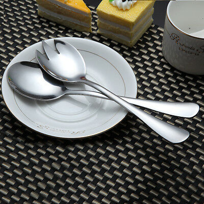 Set of 2 Pcs Stainless Steel Spoon and Fork Utensil Salad Servers Serving New