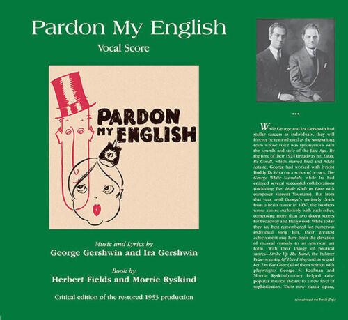 Pardon my English VOCAL Singing VOICE  Piano VOCAL Singing VOICE Score Hardcover