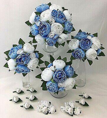 Light Blue White Peony Artificial Silk Flowers Wedding Bouquet Set Ebay