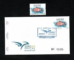 2016- Morocco- Maroc- Fish in Euromed, Joint & common issue- FDC and stamp
