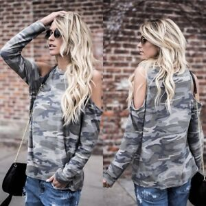 Damen-Schulterfrei-Langarm-Camouflage-T-Shirt-Bluse-Tunika-Hemd-Oberteil-Tops-DE