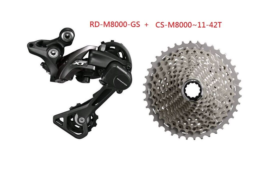 SHIMANO XT 11SPD M8000 GROUP SET CASSETTE CS-M800 REAR DERAILLEUR RD-M8000 W