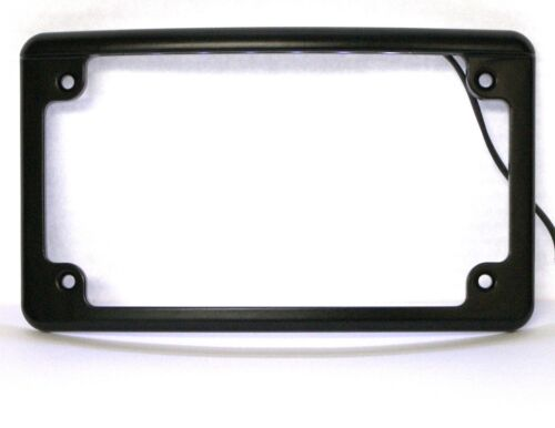 Curved LED Motorcycle License Plate Frame in Black Finish from Custom Dynamics
