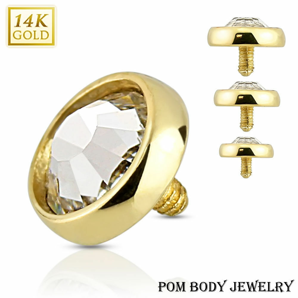 14G 14K Solid Real gold Internally Threaded Flat Dome CZ Dermal Anchor Top