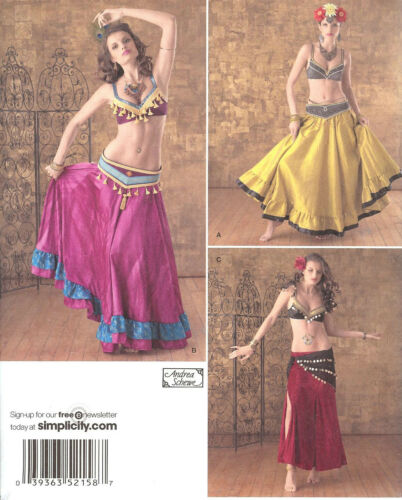 PATTERN for Belly Dance costume Simplicity 2158 Sz 6-22 Shimmy Belt Bra Skirt