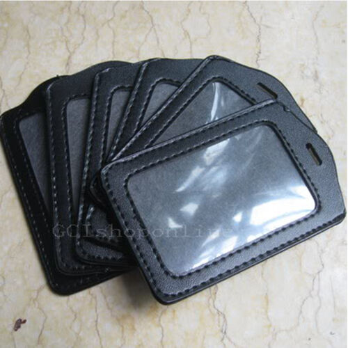 10 pcs Business ID Card Badge Holder Vertical Black