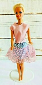 """MATTEL BARBIE Doll Blonde Hair Two Piece Pink Outfit 12"""" Tall Free Used Ship"""