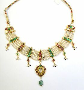 Vintage antique Solid 20K Gold jewelry Ruby Emerald Pearl Enamel