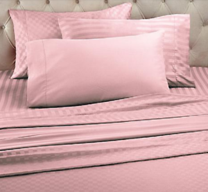 Concierge Collection Set of 3 Solid and Patterned Sheet Sets, Pink , Size F Q