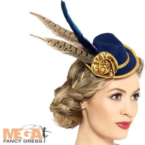 Bavarian Oktoberfest Mini Hat Ladies Fancy Dress Womens Adults Costume Accessory