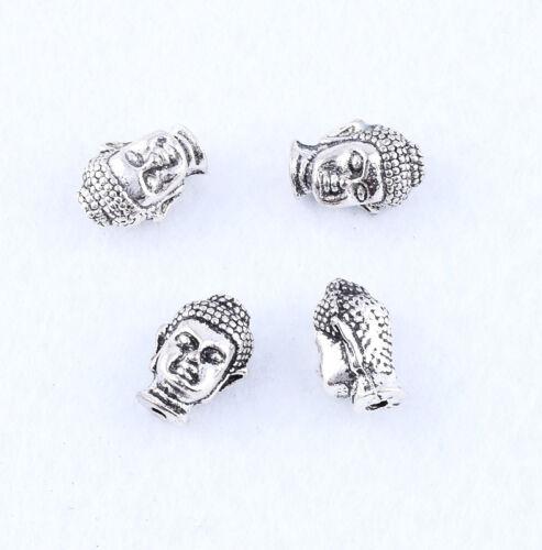 10pcs Metal Tibetan Silver Buddha head LOOSE espacés Beads Jewelry Findings À faire soi-même