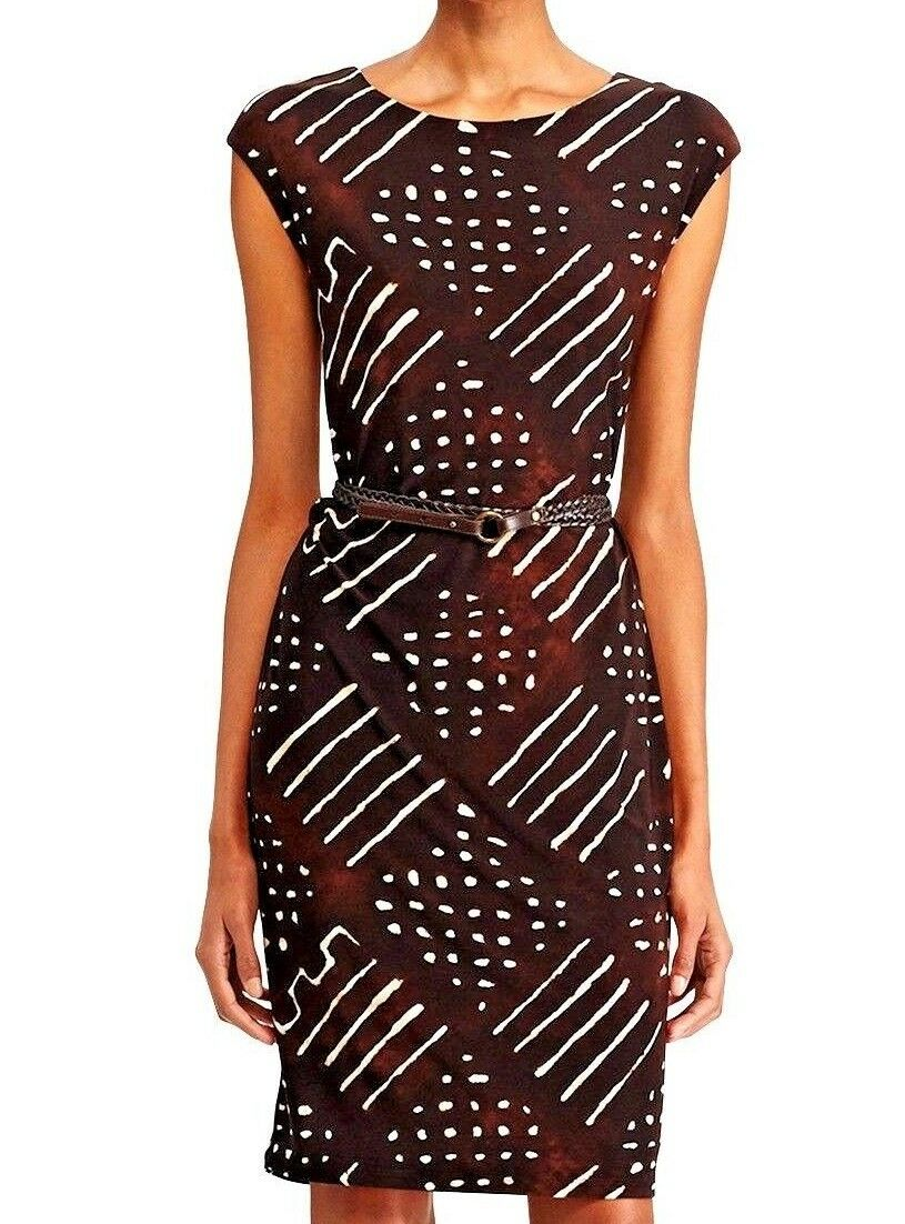 Lauren.Ralph Lauren cap sleeve Jersey print belted Dress, Size S, brown multi