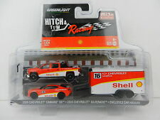 1:64 GreenLight *HITCH & TOW M&J* SHELL RACING Chevy Silverado Camaro & Enclosed