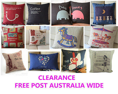 CLEARANCE - Vintage Cotton Linen Cushion Cover Pillow Case - Free Post