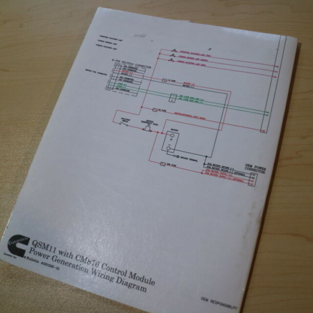 Cummins Qsm11 Cm876 Diesel Engine Electrical Wiring Schematic Diagram Manual