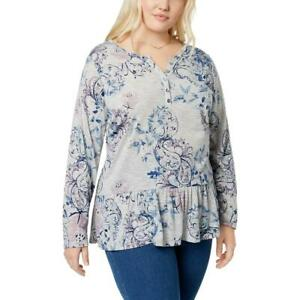 Style-amp-Co-Plus-Size-Printed-Ruffled-Henley-Top