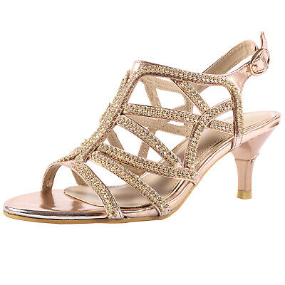 Womens Ladies Low Heel Dress Sandals Wedding Prom Party Shoes Silver Gold Size | eBay