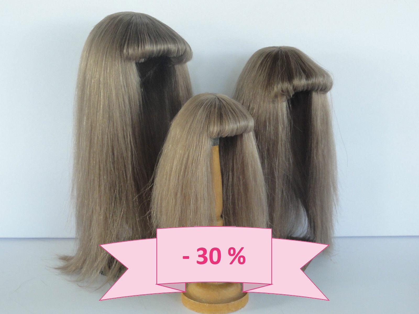 30% Promo  Parrucca per Bambola T14 43cm 100% Capelli Naturali  G.Bravot
