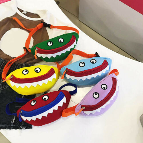 Unisex Kinder Cartoon Shark Mini Hüfttasche Gürteltasche im Freien #ewt