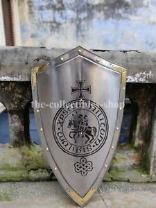 """Medieval shield knight armor Reenactment shield 32"""" with great brass touch GIFT"""
