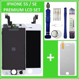 LCD-DISPLAY-fuer-iPhone-5S-SE-RETINA-EINHEIT-Touch-Screen-Front-Weiss-White-Neu