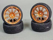 RC Car 1/10 WHEELS Tires SEMI-SLICK 3MM Offset GOLD MULTI SPOKE   -SET OF 4-