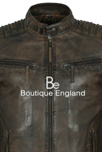 Men/'s Dirty Brown Vintage Jacket Quilted Biker Style 100/% Leather Jacket 4430