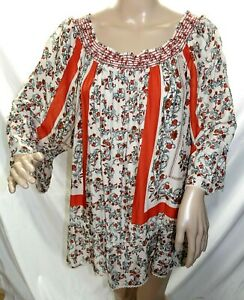 Southern Lady Women Plus Size 3x Brown Coral Aztec Tunic Top Blouse Shirt