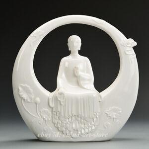 Fine China Ceramics White Porcelain Kung Fu Yoga Beauty Beautiful Woman Statue A