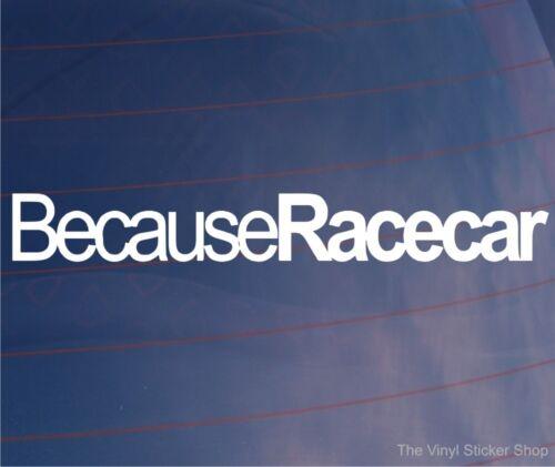 BECAUSE RACECAR Funny Novelty Car//Window//Bumper Vinyl Sticker//Decal