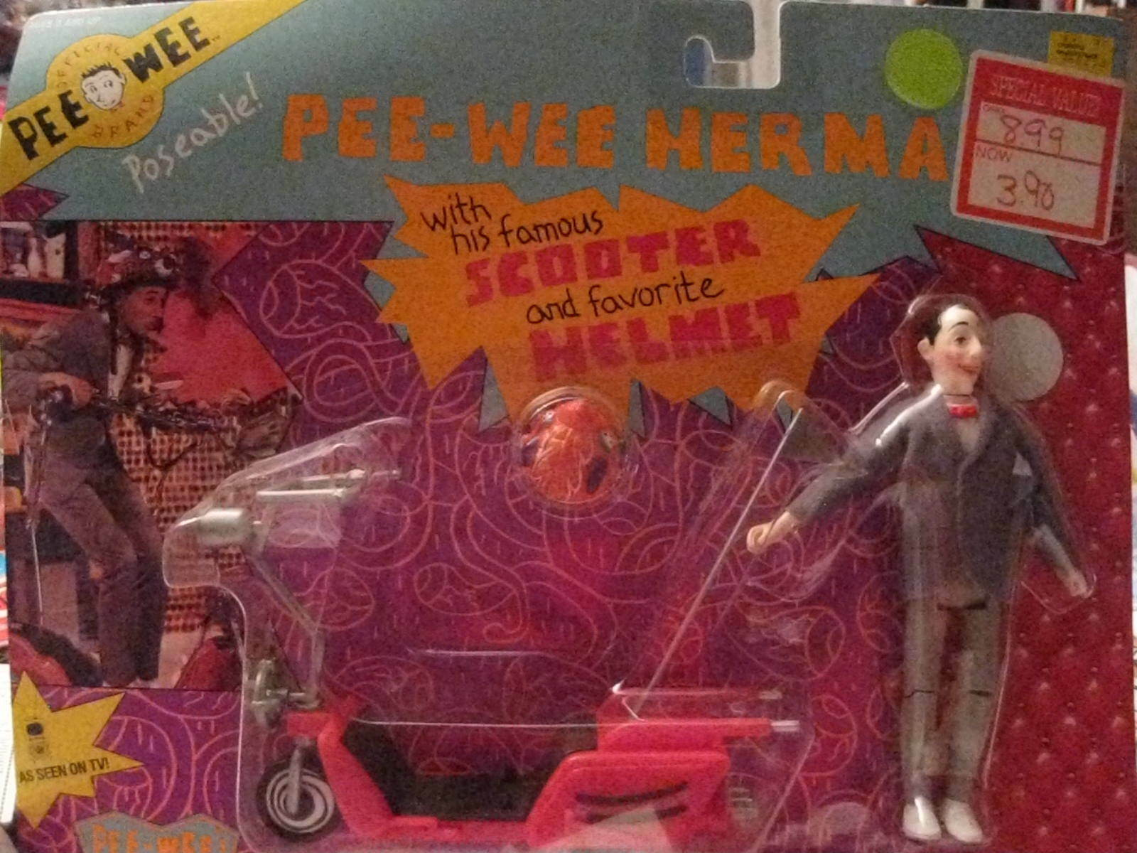 PEE-WEE HERMAN DOLL WITH HIS HIS HIS FAMOUS SCOOTER AND HELMET 1917df