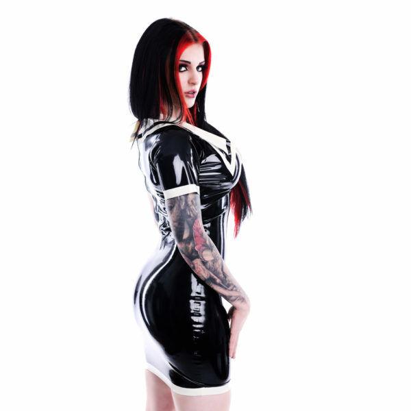 LATEX RUBBER Kleid unisex fetish bondage XS S M L XL  WITH CONTRAST TRIM
